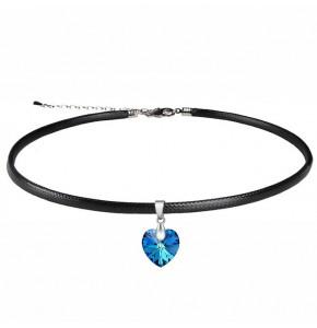 Дамски чокър със синьо сърце Swarovski