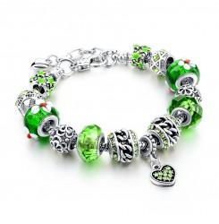 Сребриста дамска гривна със зелен кристален камък