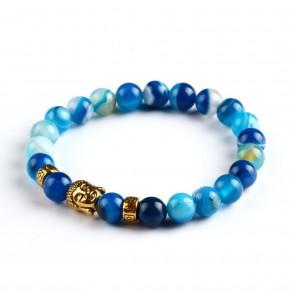 Синя мъжка гривна от естествени сферични камъни