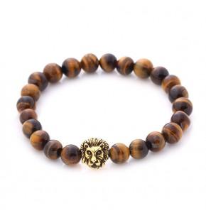 Кафява мъжка гривна със сферични камъни и лъвска глава
