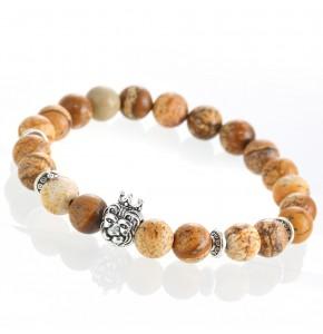 Кехлибарна мъжка гривна с хубави сферични камъни и лъвска глава