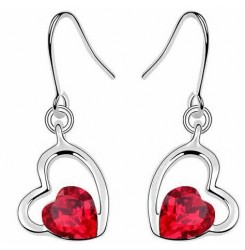 Обеци сърца с червен кристал