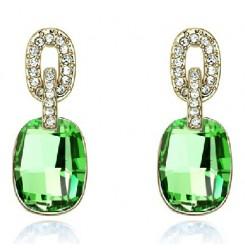Искрящи зелени кристални обеци