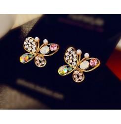 Обеци пеперуда с кристали