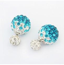 Искрящи кристални обеци- сини и червени